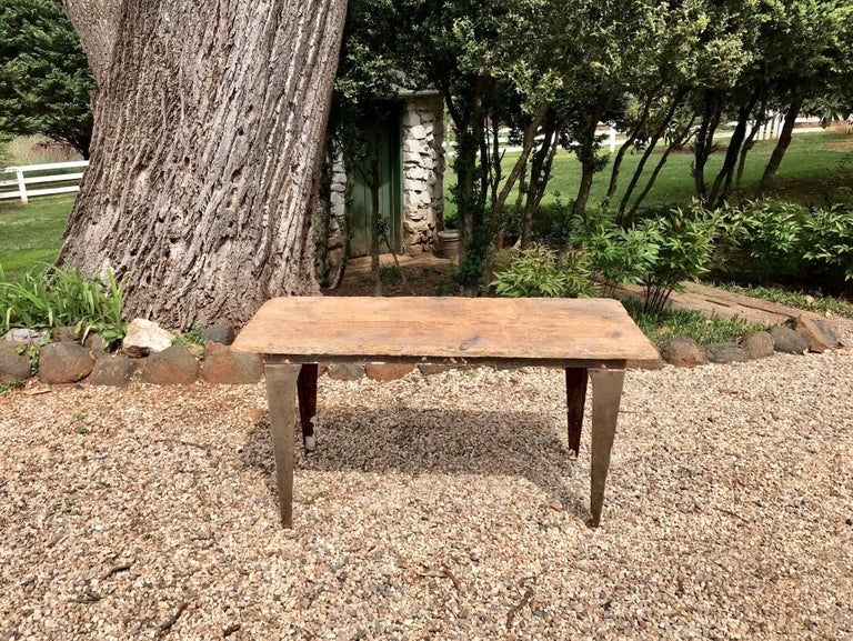 Industrial Workbench / Studio Table with 19th Century Pine Top For Sale 1