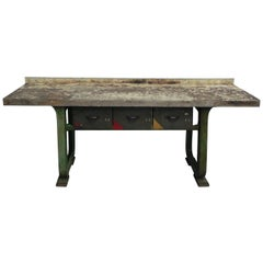Industrial Workbench with Cast Iron Base