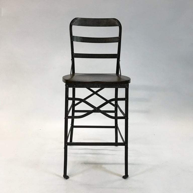 American Industrial Wrought Iron and Oak Shop Stool For Sale