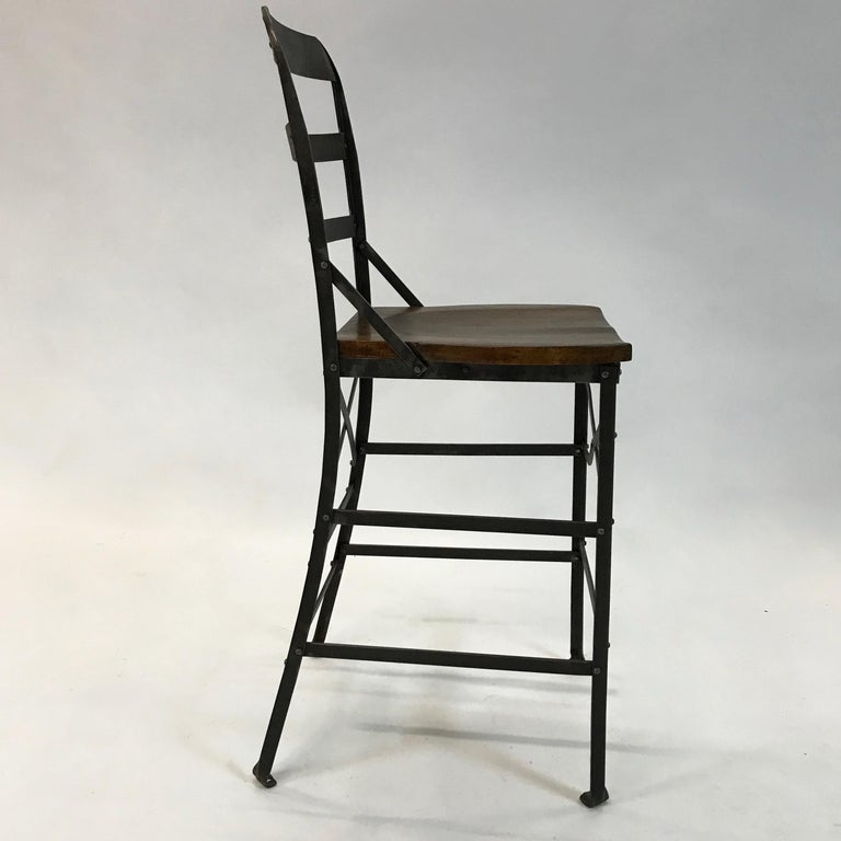 Industrial Wrought Iron and Oak Shop Stool In Excellent Condition For Sale In Brooklyn, NY