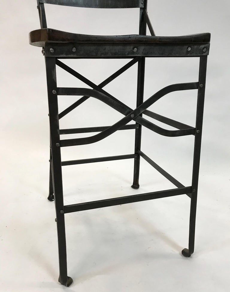 Industrial Wrought Iron and Oak Shop Stool For Sale 2