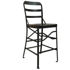 Industrial Wrought Iron and Oak Shop Stool