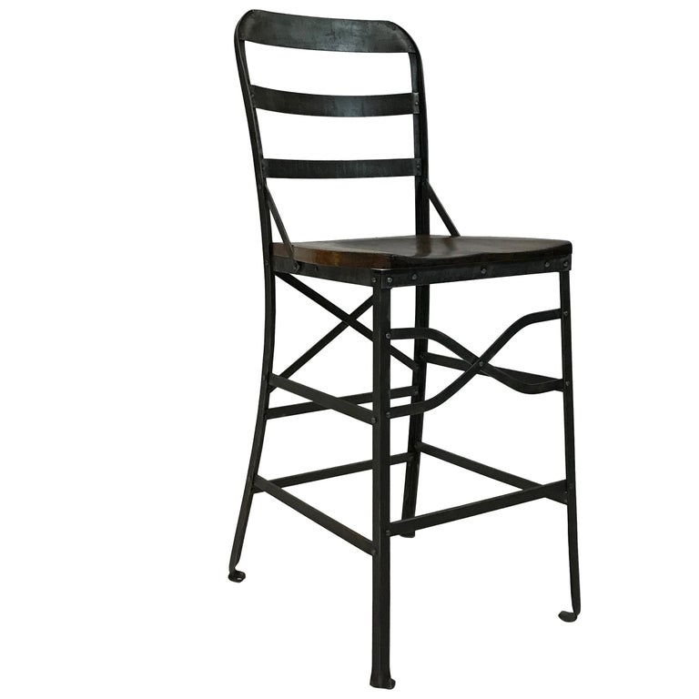 Industrial Wrought Iron and Oak Shop Stool For Sale