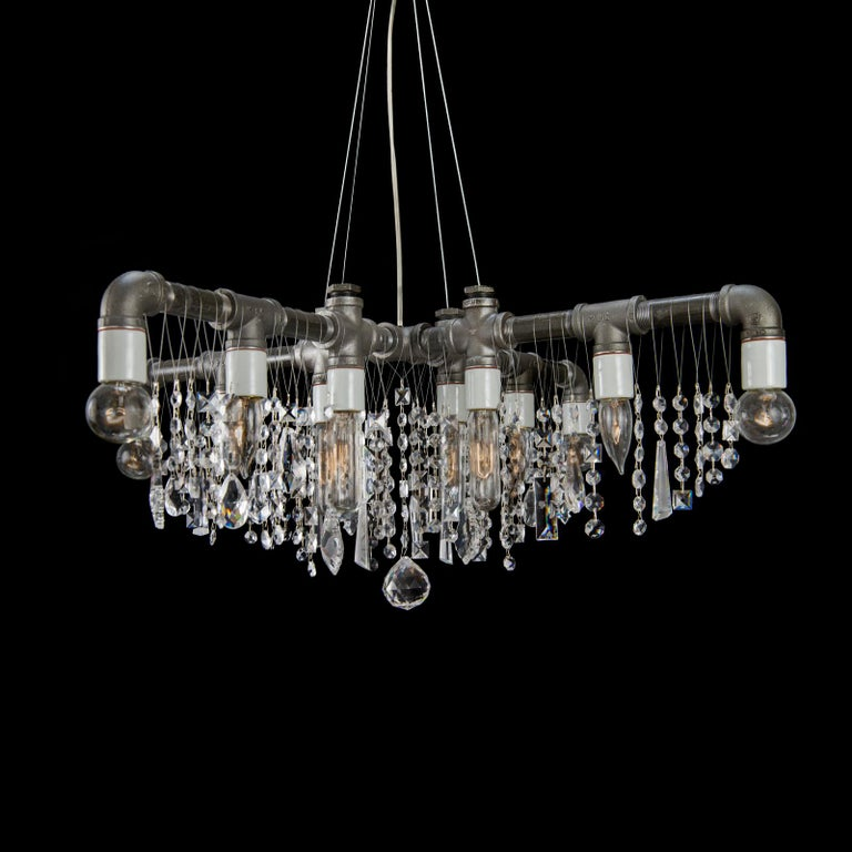 American Industrial Black Steel and Crystal  X-Chandelier Pendant For Sale