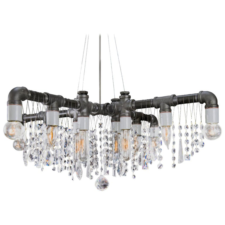 Industrial Black Steel and Crystal  X-Chandelier Pendant For Sale