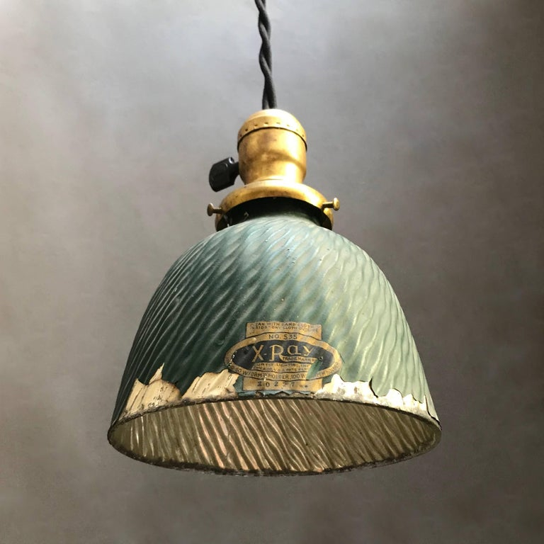 Industrial X-Ray Mercury Glass Dome Pendant Light In Good Condition For Sale In Brooklyn, NY
