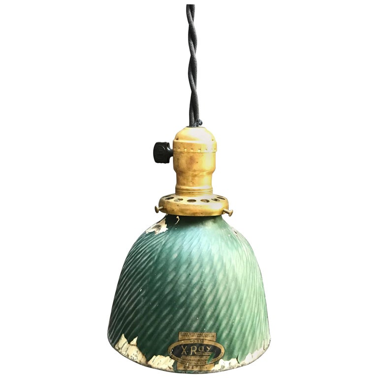 Industrial X-Ray Mercury Glass Dome Pendant Light For Sale