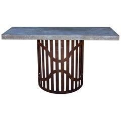 Industrial Zinc Console on Repurposed Iron Base