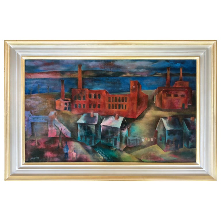 """""""Industry Along the River"""" by Joseph Wolins For Sale"""