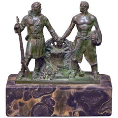 """""""Industry and Agriculture,"""" Allegorical WPA-Art Deco Sculpture with Male Figures"""