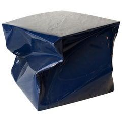 Inés Benavides Contemporary Cube Blue Steel Stool Side Table, Spain, 2018