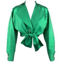INES de la FRESSANGE 8 Green Silk Shantung Wide Lapel Rhinestone Button Tied Top