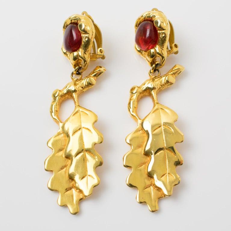 Modern Ines de la Fressange Clip Earrings Oak Leaf Resin Cabochon For Sale