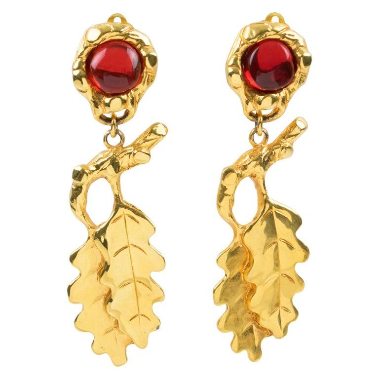 Ines de la Fressange Clip Earrings Oak Leaf Resin Cabochon For Sale