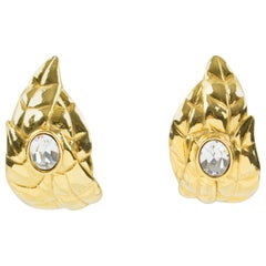 Ines de la Fressange Paris Jeweled Clip Earrings Gilt Metal Carved Leaf