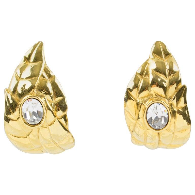 Ines de la Fressange Paris Jeweled Clip Earrings Gilt Metal Carved Leaf For Sale