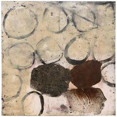 Ines Hildur German Artist Painter Dark Black over Black, Mixed-Media on Wood