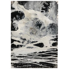 """Ines Hildur German Artist """"Snow Field"""" Mixed-Media on Wood"""