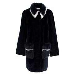 Ines & Marechal Navy Shearling Coat XS