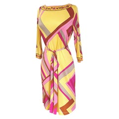 INES yellow silk jersey abstract mix-print shift dress Flora Kung NWT