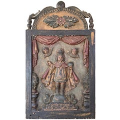 Infant Jesus of Prague Hand Carved and Painted Wood Plaque, Early 19th Century