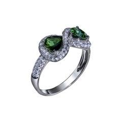 """Infinite Eight of Hearts"" Diamonds and Green Tourmaline Hearts Ring"