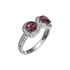 """Infinite Eight of Hearts"" Diamonds and Pink Spinel Hearts Ring"