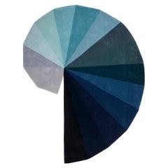"""Infinity"" 16 Color Deep Blue to Light Grey Pure Irish Wool Rug by Rhyme"