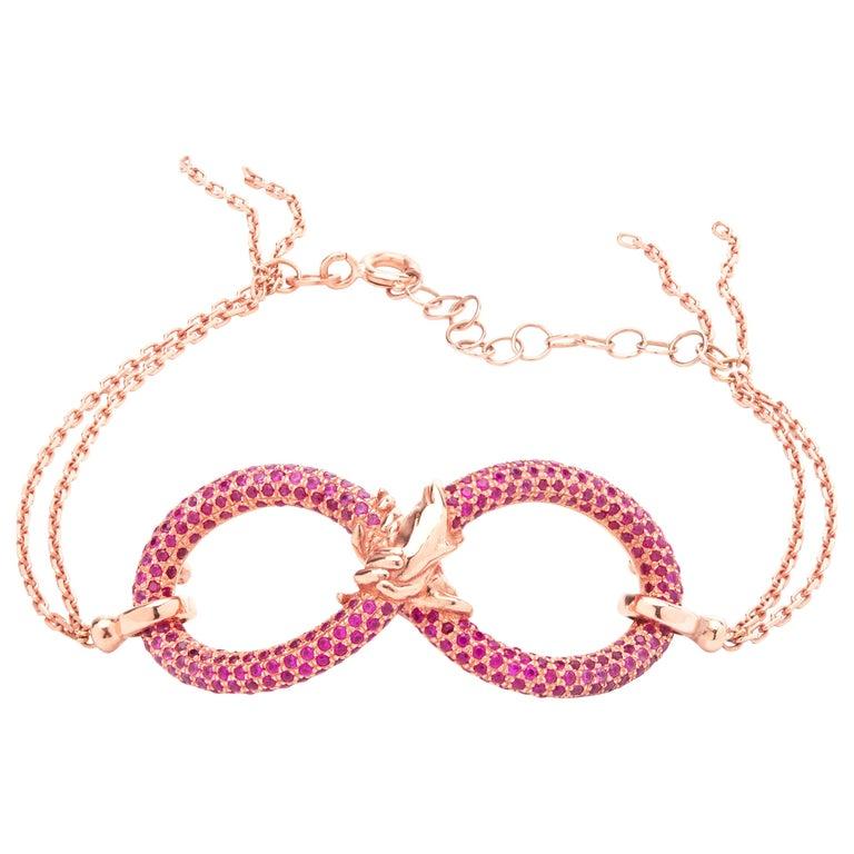 Infinity 18 Carat Rose Golden Bracelet by Lorenzo Quinn For Sale