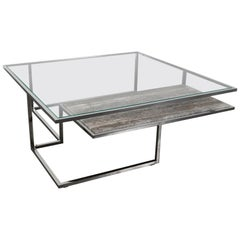 Infinity, Coffee Table in Hand Polished Stainless Steel and Travertine Marble