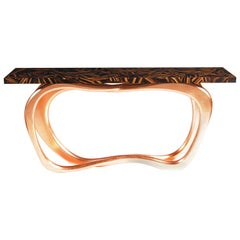 Infinity Console Table with Wood Top