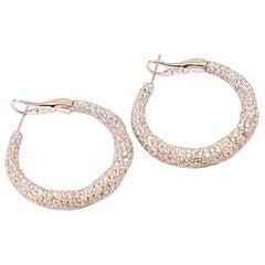 White Gold 18 K, Diamond Round, Unique Design, Infinity Love Earrings