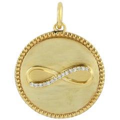 Infinity Medallion 14 Karat Gold Diamond Pendant Necklace