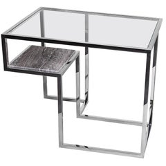 Infinity, Side Table in Hand Polished Stainless Steel and Travertine Marble