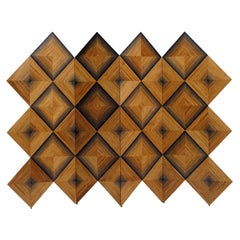 Infinity Square Marquetry 4-Panel Screen in 1,200 Year-Old Bog Oak