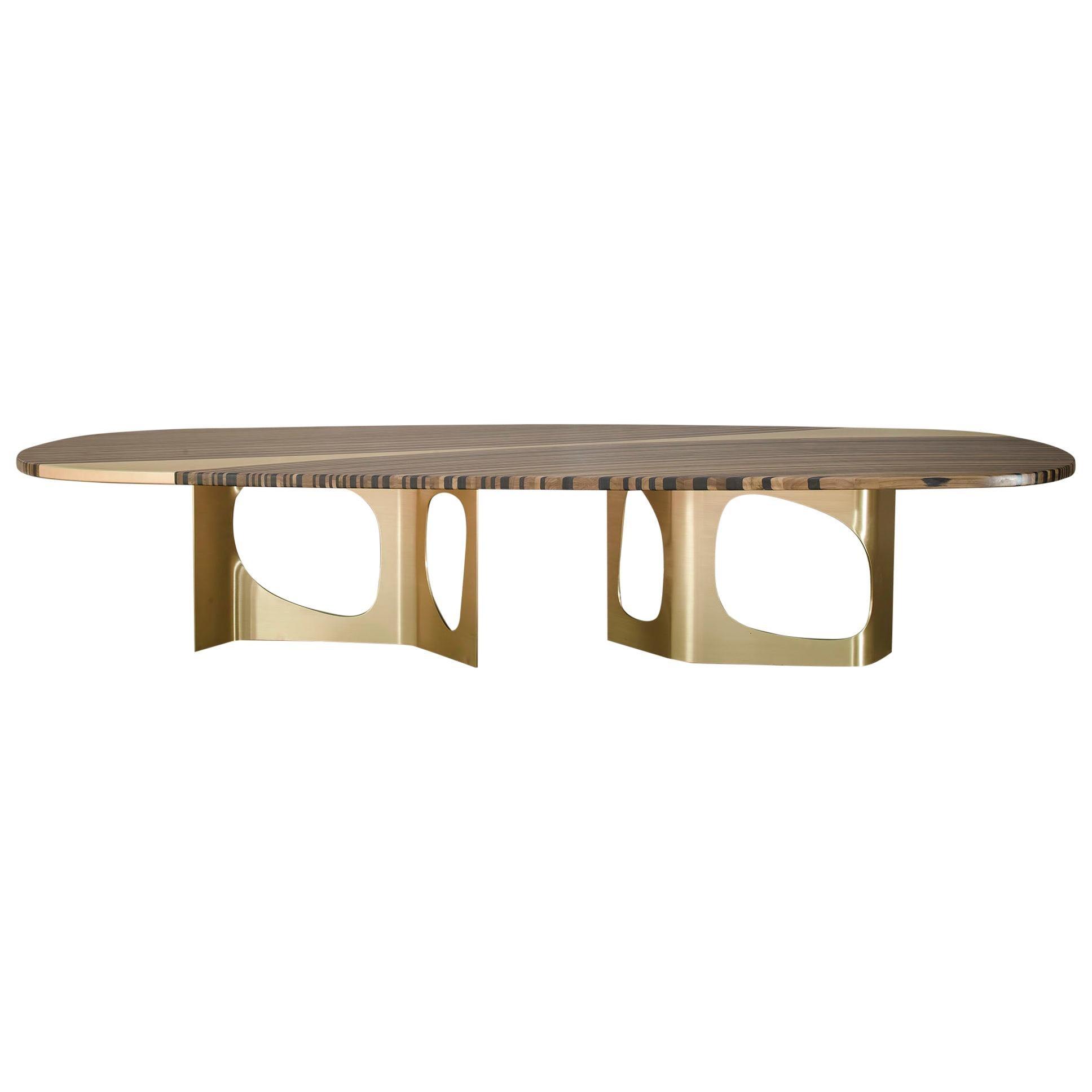 Infinity, StudioManda, Dining Table, Wood Top, Brass Inlay, Brass, Lebanon 2018