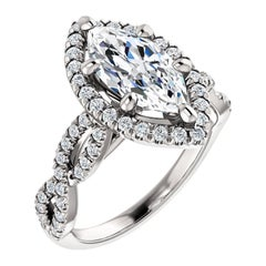 Infinity Style Halo Diamond Accented Marquise GIA Certified Engagement Ring