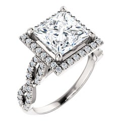 Infinity Style Halo Diamond Accented Princess Cut GIA Certified Engagement Ring