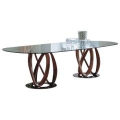Infinity Walnut and Glass Table by Porada