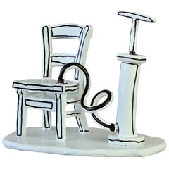 Whimsical Black & White 'Inflatable Chair' Art Studio Pottery