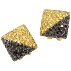 Inflated Square Yellow Sapphire and Black Diamond Pavé 18 Karat Gold Earrings