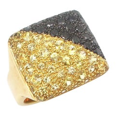 Inflated Square Yellow Sapphire and Black Diamond Pavé 18 Karat Gold Ring