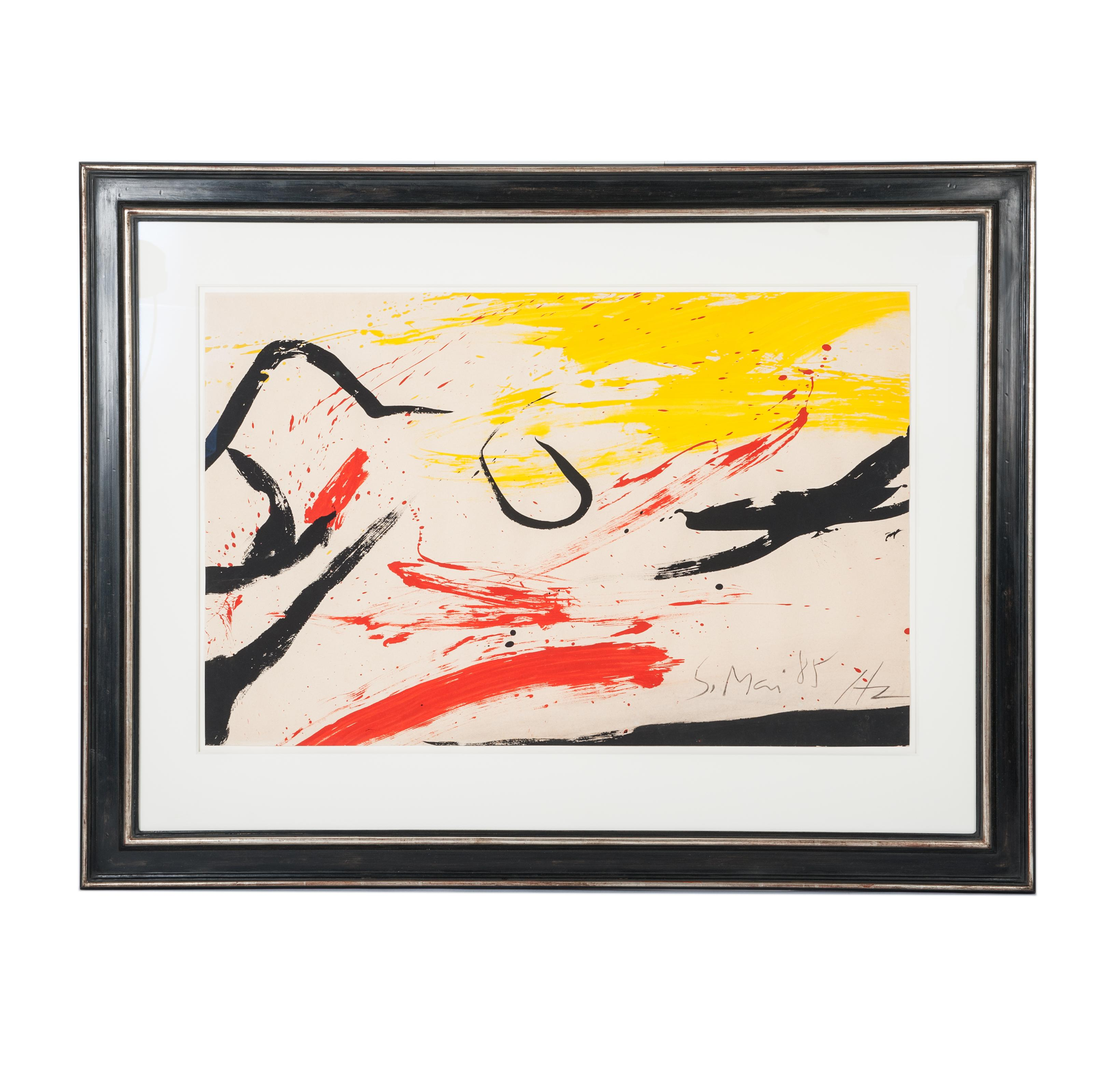 Informal Painting 'Gouache' Color Black, Yellow, Red by Helmut Zimmermann, 1985