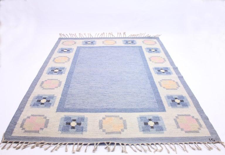 Scandinavian Modern Ingegerd Silow, Flat Weave Röllakan Carpet, 1950s For Sale