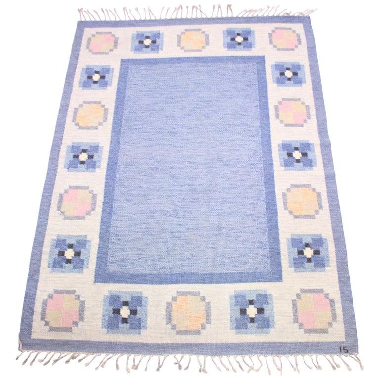 Ingegerd Silow, Flat Weave Röllakan Carpet, 1950s For Sale