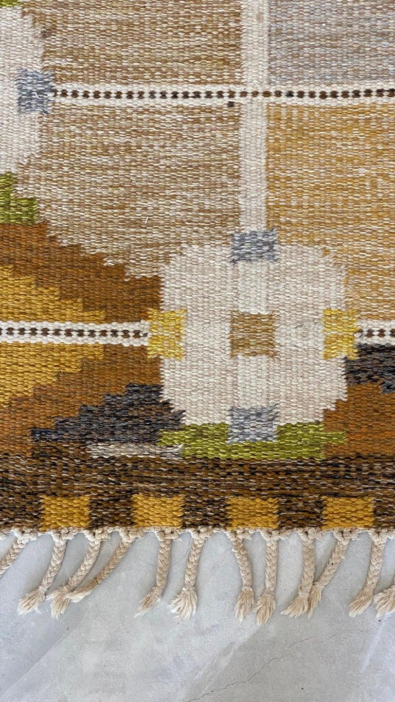 Scandinavian Modern Ingegerd Silow, Signed Flat-Weave Carpet, Dyed Wool, Sweden, 1950s For Sale