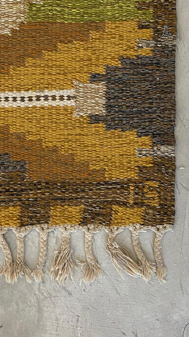 Ingegerd Silow, Signed Flat-Weave Carpet, Dyed Wool, Sweden, 1950s In Good Condition For Sale In West Palm Beach, FL