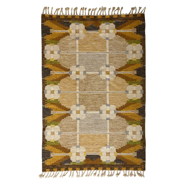 Ingegerd Silow, Signed Flat-Weave Carpet, Dyed Wool, Sweden, 1950s