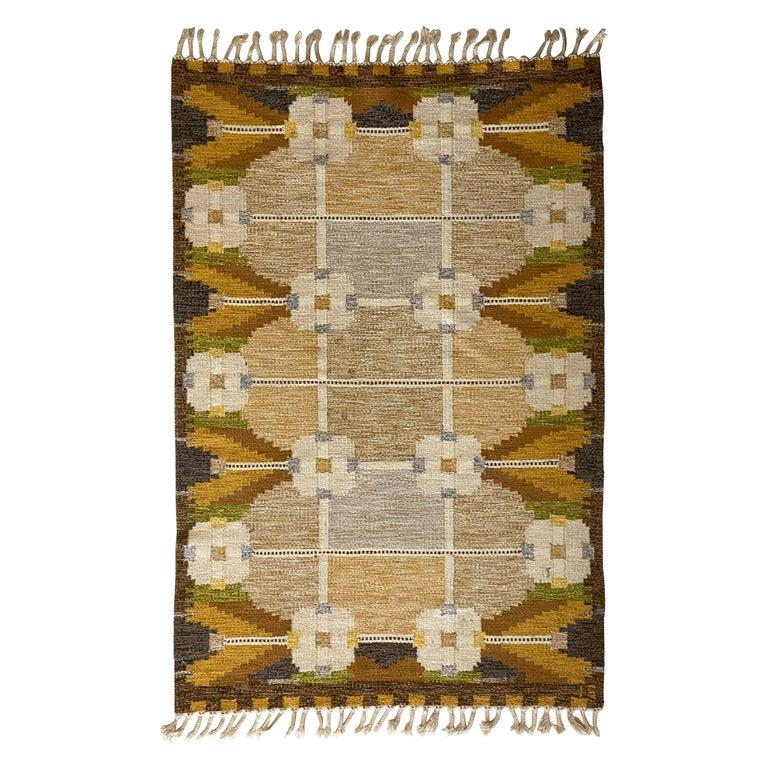 Ingegerd Silow, Signed Flat-Weave Carpet, Dyed Wool, Sweden, 1950s For Sale
