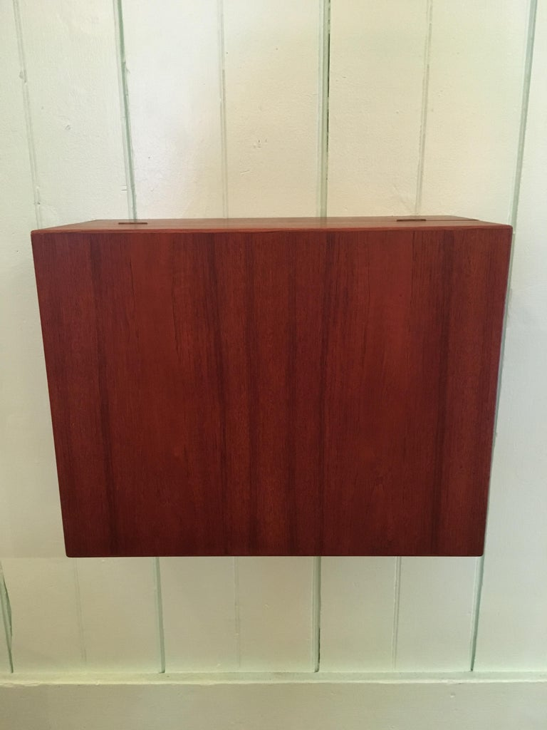 Teak Ingenious and Rare P. Jensen & Knud Frandsen Wall Hanging Toilette Cabinet For Sale